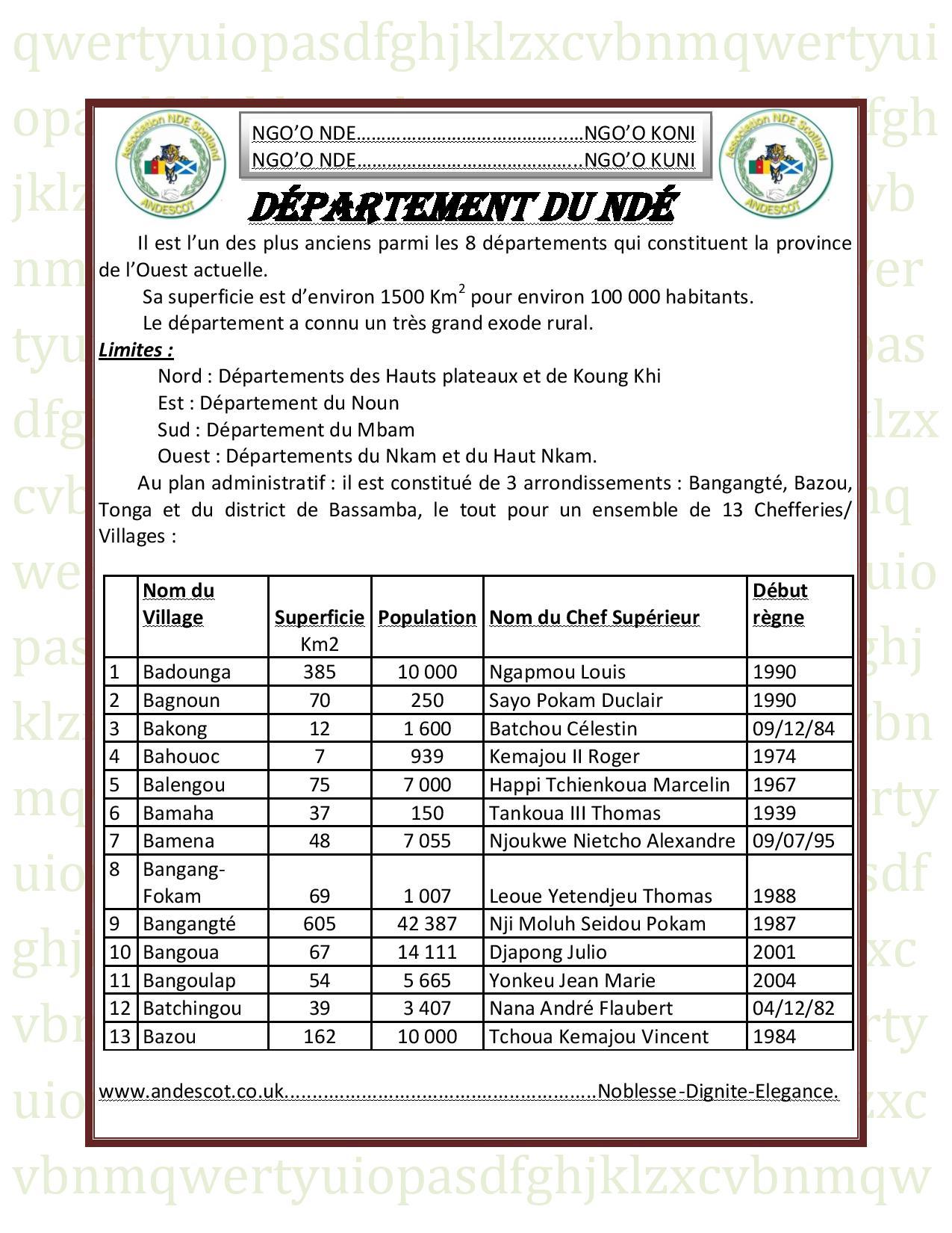 Département du NDÉ general info